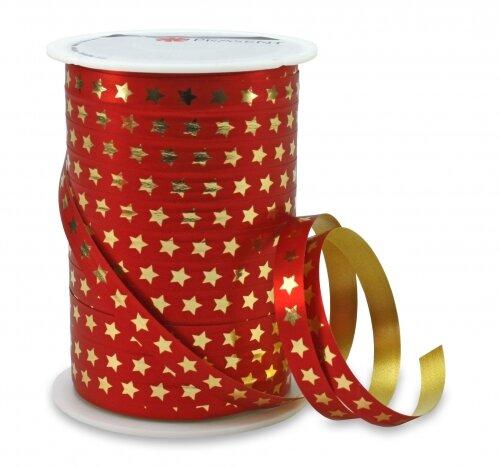 CHRISTMAS STAR Rot 100m x 10mm Geschenkband Weihnachten