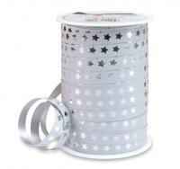 CHRISTMAS STAR Weiß, 100m x 10mm Geschenkband...