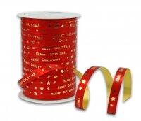 MERRY CHRISTMAS Rot 100m x 10mm Geschenkband Weihnachten
