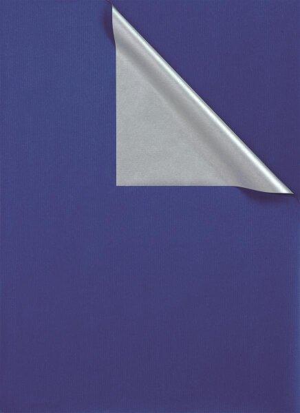 Geschenkpapier Secare Rolle 2-farbig blau/silber 100m x 50cm