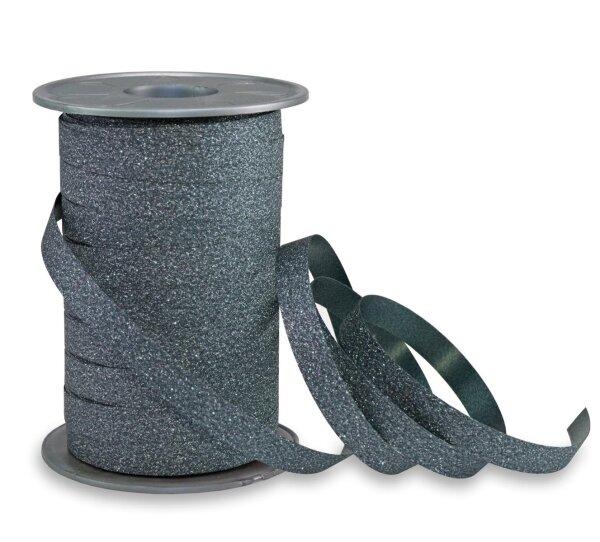 Geschenkband Glitzer Petrol 100m x 10mm Poly Glitter Ringelband