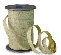 Geschenkband Glitzer Gold 100m x 10mm Poly Glitter Ringelband