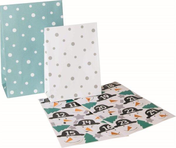 Adventskalender Jungen Set 24 Papiertüten mit Stickern