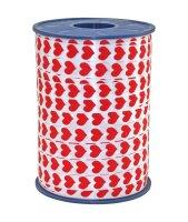 Geschenkband Weiss Rote Herzen 250m x 10mm Honeymoon...
