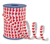 Geschenkband Weiss Rote Herzen 250m x 10mm Honeymoon Ringelband