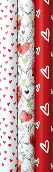 Geschenkpapier Hochzeit Valentinstag Muttertag - 3 Rollen