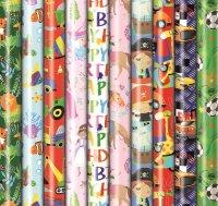 Geschenkpapier Kinder Geburtstag 2m x 0,7 m - 60 Rollen