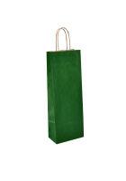 Flaschentaschen mit Kordel 14+8x39cm grün