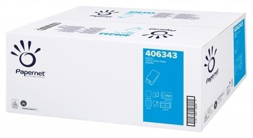 Papierhandtücher 2-lagig V-Falz weiß 24 x 23cm - 3.750 Blatt Papernet 406343 - 1 Palette = 32 Karton = 120000 Blatt