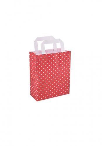 Papiertragetaschen mit Flachhenkel 18+8x22cm rot mit weißen Punkten