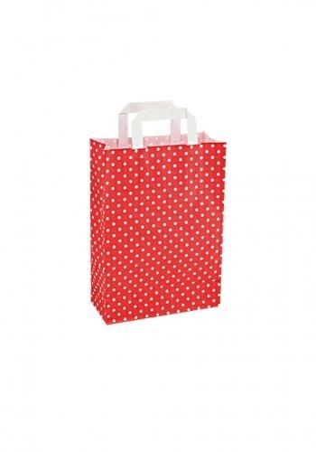 Papiertragetaschen mit Flachhenkel 22+10x31cm rot mit weißen Punkten