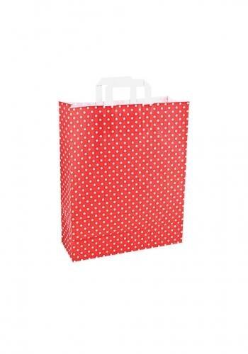 Papiertragetaschen mit Flachhenkel 32+12x40cm rot mit weißen Punkten - 250 Tüten
