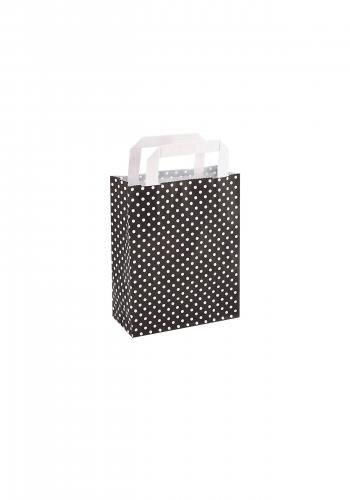 Papiertragetaschen mit Flachhenkel 18+8x22cm schwarz mit weißen Punkten