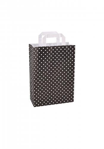 Papiertragetaschen mit Flachhenkel 22+10x31cm schwarz mit weißen Punkten