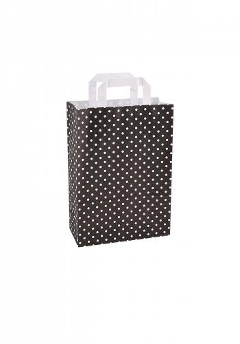 Papiertragetaschen mit Flachhenkel 22+10x31cm schwarz mit weißen Punkten - 25 Tüten