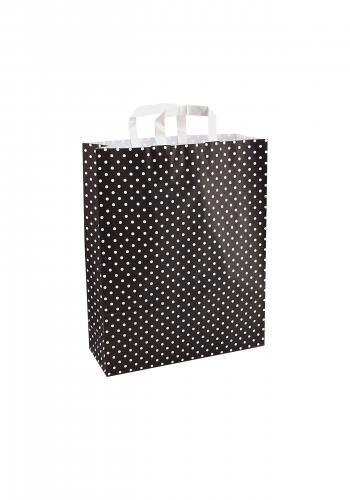 Papiertragetaschen mit Flachhenkel 32+12x42cm schwarz mit weißen Punkten