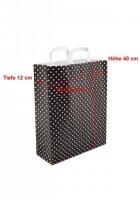 Papiertragetaschen mit Flachhenkel 32+12x42cm schwarz mit...