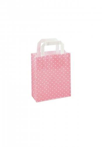 Papiertragetaschen mit Flachhenkel 18+8x22cm rosa mit weißen Punkten