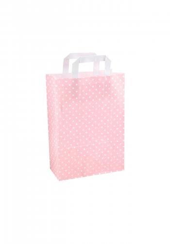Papiertragetaschen mit Flachhenkel 22+10x31cm rosa mit weißen Punkten