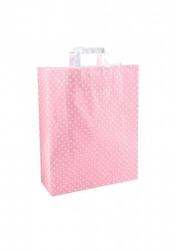 Papiertragetaschen mit Flachhenkel 32+12x40cm rosa mit weißen Punkten