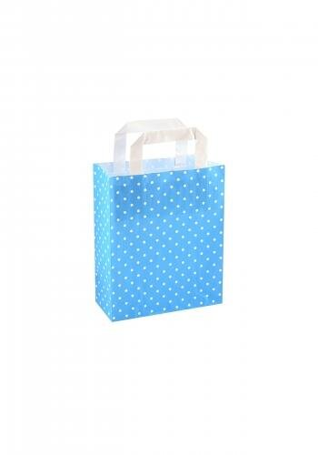 Papiertragetaschen mit Flachhenkel 18+8x22cm blau mit weißen Punkten
