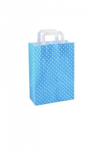Papiertragetaschen mit Flachhenkel 22+10x31cm blau mit weißen Punkten