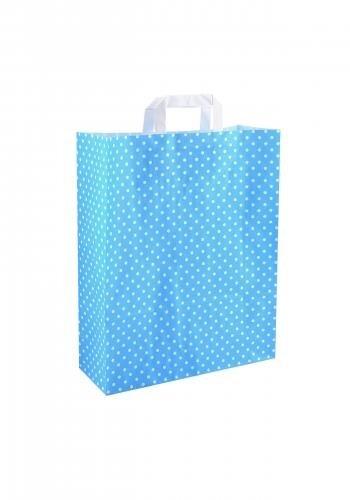 Papiertragetaschen mit Flachhenkel 32+12x40cm blau mit weißen Punkten