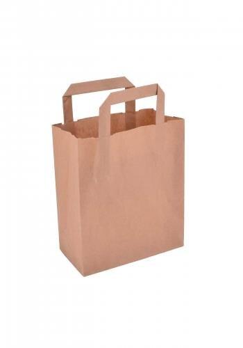 Papiertragetaschen mit Flachhenkel 18+8x22cm braun - 250 Tüten