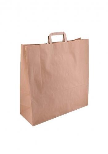 Papiertragetaschen mit Flachhenkel 45+16x43 cm braun - 150 Tüten