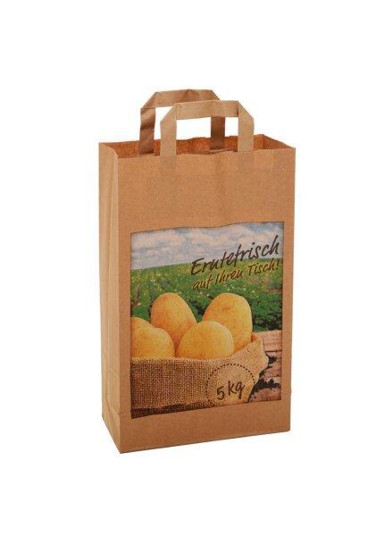 Papiertragetaschen Kartoffeln mit Flachhenkel 22+11x36 cm braun