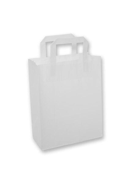 Papiertragetaschen mit Flachhenkel grau 22+10x28cm