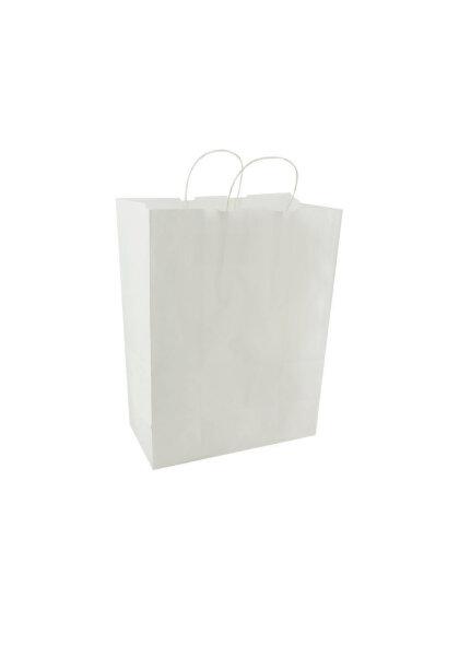 Papiertragetaschen mit Kordel 32+17x43cm weiß
