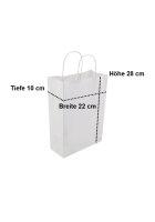 Papiertragetaschen mit Kordel 22+10x28cm weiß