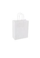 Papiertragetaschen mit Kordel 18+8x22cm weiß - 25...