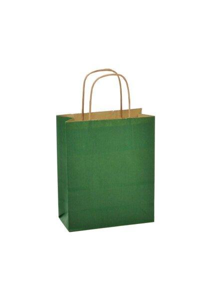 Papiertragetaschen mit Kordel 18x8x22cm grün - 25 Tüten