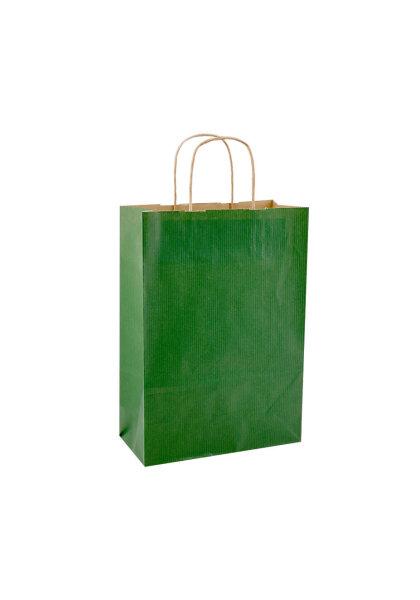 Papiertragetaschen mit Kordel 23+10x30cm grün - 250 Tüten