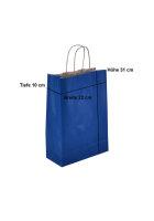 Papiertragetaschen mit Kordel 23+10x29cm blau