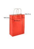 Papiertragetaschen mit Kordel 23+10x29cm rot