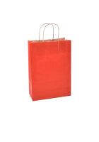 Papiertragetaschen mit Kordel 23+10x29cm rot - 25 Tüten