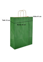 Papiertragetaschen mit Kordel 32+14x42cm grün