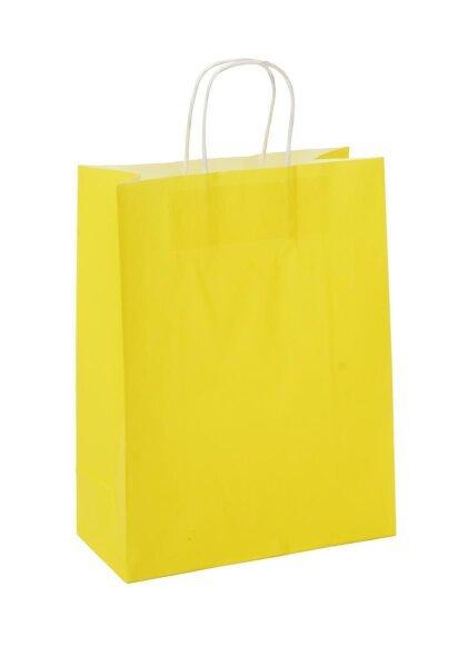 Papiertragetaschen mit Kordel 26+12x35cm gelb
