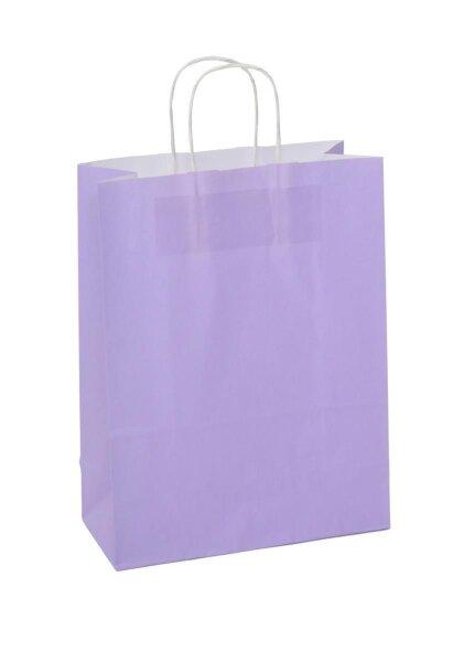 Papiertragetaschen mit Kordel 26+12x35cm lila - 350 Tüten