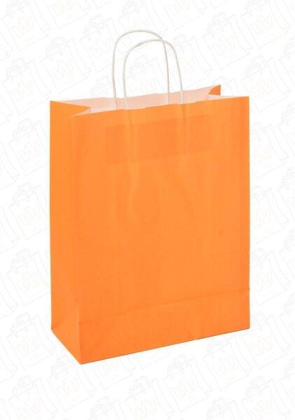 Papiertragetaschen mit Kordel 26+12x35cm orange - 25 Tüten