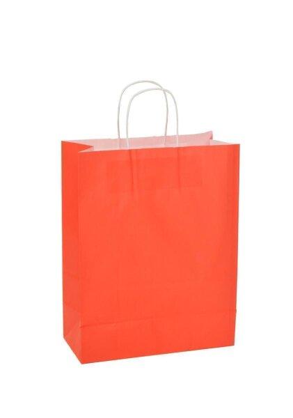 Papiertragetaschen mit Kordel 26+12x35cm rot - 350 Tüten