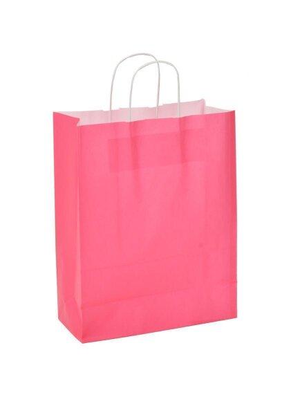 Papiertragetaschen mit Kordel 32+17x43cm rosa - 25 Tüten