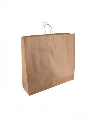 Papiertragetaschen mit Kordel 54+15x49cm braun - 125 Tüten