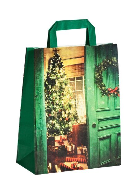 Weihnachtstüten mit Flachhenkel Weihnachtsstube 22+10x28 cm - 250 Tüten