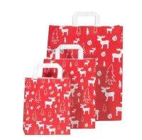Weihnachtstüten Rot mit Flachhenkel Elch 18+8x22cm