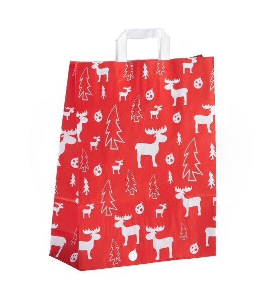 Weihnachtstüten Rot mit Flachhenkel Elch 22+10x28 cm