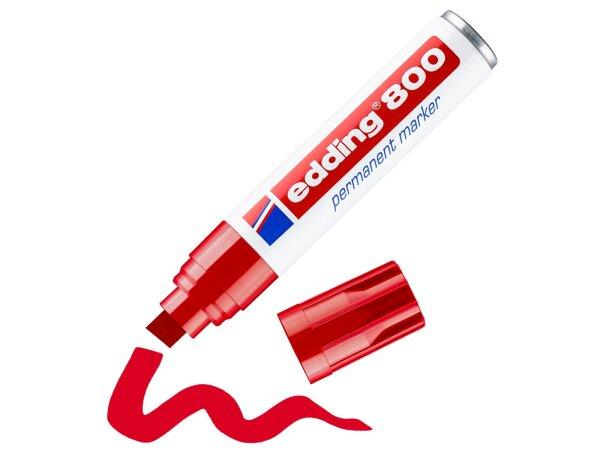 edding 800 Permanent Marker rot - Keilspitze, Strichstärke 4,0 - 12,0 mm -
